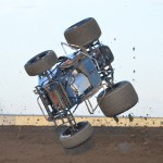 Brady Bacon flips during the second lap of qualifications. - Bill Miller Photo
