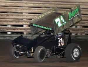 Shane Stewart won his heat and the feature after timing in 6th in the 410 class at Knoxville Raceway in Knoxville, Iowa on 27 April 2013. - Serena Dalhamer photo