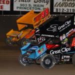 Daryn Pittman (#9) racing with Jac Haudenschild (#59) Saturday night during World of Outlaws action at Tri-State Speedway. - James McDonald / Apexonephoto
