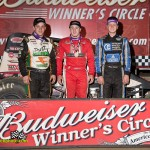 The top 3 finisher in the USAC Sprint feature were: 3rd: Brady Bacon, 1st: Kevin Thomas, 2nd: Chase Stockton. - Mike Campbell Photo