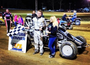 Jeff Bland, Jr. in victory lane at Lincoln Park Speedway. - Image courtesy of Jeff Bland, Jr.