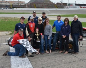 Aaron Pierce stands in Victory Lane with family and crew after winning his third Glen Niebel Classic at the Anderson Speedway on Sunday afternoon April 14, 2013. - Bill Miller Photo