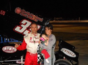 Dave Steele and family in victory lane. - image courtesy of FloridaSprintCarFans.com