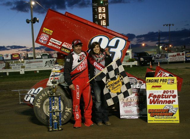 Tim Shaffer in victory lane after winning the opening night of the 2013 season at Fremont Speedway. - image courtesy of Fremont Speedway