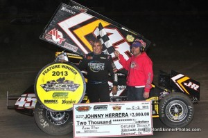 Johnny Herrera earned his first victory of the 2013 season in ASCS competition on Friday, May 3 with the Griffith Truck and Equipment Gulf South Region at the Golden Triangle Raceway Park in Beaumont, Texas. (ASCS / Ron Skinner Photo)