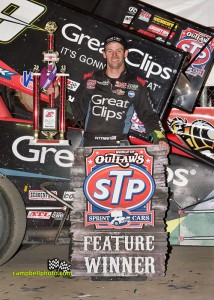Daryn Pittman after winning Saturday night's World of Outlaws STP Sprint Car feature at Eldora Speedway. - Mike Campbell Photo