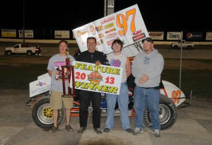 Brian Herbert and crew in victory lane at Dodge City Raceway Park. - TWC Photo