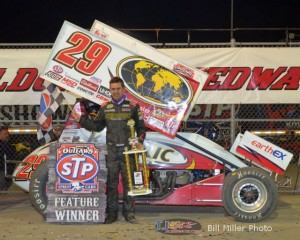 Kerry Madsen in victory lane at Eldora Speedway after winning Fright night's STP World of Outlaws feature. - Bill Miller Photo