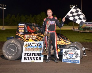 Brady Short in victory lane after winning the KISS feature Friday night at Gas City I-69 Speedway. - Bill Miller Photo
