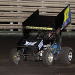 Tyler Groenendyk goes wheels up during Knoxville Raceway 360 sprint feature action on 11 May 2013. - Serena Dalhamer photo