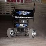 Tim Kaeding shreds a tire during the World of Outlaws Sprint Feature at Knoxville Raceway on 11 May 2013.  - Serena Dalhamer photo