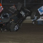 Nate Dussel gets upside down during the 360/305 sprint NRA challenge feature.  - Action Photo