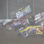 Caleb Griffith and #b20 Butch Schroeder battle for position during the 360/305 sprint NRA challenge feature. - Acton Photo