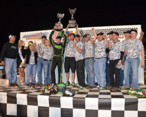 Jacob Wilson and his crew in victory lane after winning the 2013 Pay Less Little 500. - Bill Miller Photo