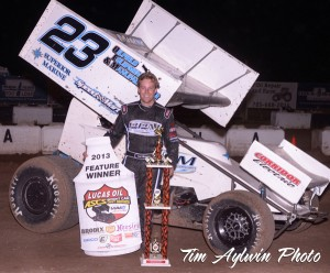Seth Bergman became the ninth winner of 2013 with the Lucas Oil ASCS presented by MAVTV American Real, winning at the Salina Speedway on Friday, May 31. (ASCS / Tim Aylwin)