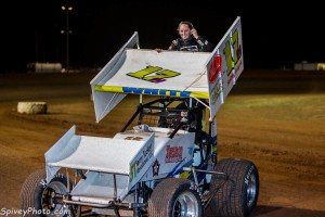 Harli White in victory lane at Lawton. - Mike Spivey Photo