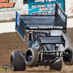 Sam Hafertepe, Jr. wheels up qualifying at Fremont Speedway Thursday during Ohio Sprint Speedweek. - Mike Campbell Photo