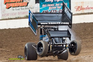 Sam Hafertepe, Jr. wheels up qualifying at Fremont Speedway Thursday during Ohio Sprint Speedweek. - Mike Campbell Photo