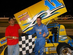 Joey Aguilar in victory lane at Showtime Speedway. - Floridasprintcarfans.com