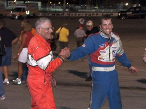Hank Lower (l) and Jason Blonde (r) congratulate each other after a hard fought battle for the win at Toledo Speedway. - T.J. Buffenbarger Photo
