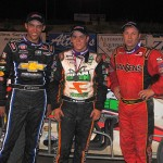 (l to r) Second place finisher Bryan Clauson, winner Brady Bacon, and third place finisher Tracy Hines. - T.J. Buffenbarger Photo