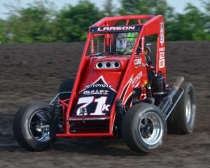 Kyle Larson at Gas City I-69 Speedway during Indiana Midget Week. - Bill Miller Photo