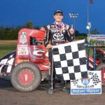 Kyle Larson in victory lane after winning the opening night of Indiana Midget Week at Gas City I-69 Speedway. - Bill Miller Photo