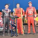 First place Kyle Larson, runner up Tracy Hines, and third place finisher Christopher Bell following the opening night feature of Indiana Midget Week at Gas City I-69 Speedway. - Bill Miller Photo