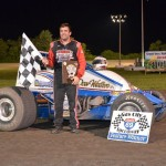 Levi Jones in victory lane after winning the sprint car feature Wednesday night at Gas City I-69 Speedway. - Bill Miller Photo