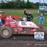 Chad Boespflug in Victory Lane after winning the 25 lap sprint car feature event at the Gas City I-69 Speedway on Friday night June 21, 2013. - Bill Miller Photo