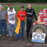 Chad Boespflug and crew in Victory Lane after winning the 25 lap sprint car feature event at the Gas City I-69 Speedway on Friday night June 21, 2013. - Bill Miller Photo