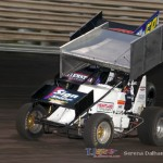 Dalton Ryder (29) leads Mike Philben (59KB) at Knoxville Raceway on 8 June 2013. (Serena Dalhamer photo)