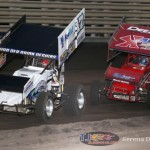 Austin McCarl (17A) leads Dustin Selvage (7K) at Knoxville Raceway on 8 June 2013. (Serena Dalhamer photo)