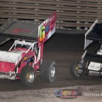 Mitchell Alexander (6) leads Chris Walraven (28) at Knoxville Raceway on 8 June 2013. (Serena Dalhamer photo)