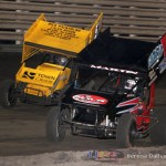 Joe Beaver (53) laps Chris Martin (44) on his way to the 360 feature victory at Knoxville Raceway on 8 June 2013. (Serena Dalhamer photo)
