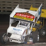 Don Droud Jr (47) leads Glen Saville (10V) at Knoxville Raceway on 8 June 2013. (Serena Dalhamer photo)