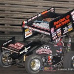 Terry McCarl won a thrilling 410 feature at Knoxville Raceway on 8 June 2013. (Serena Dalhamer photo)