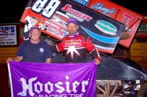 Tim Crawley made his 2nd visit of the 2013 season to the www.rockauto.com USCS victory lane at Lavonia Speedway on Friday night. (Chris Seelman photo)