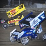 Brad Sweet and Kyle Larson battle for the lead during Ohio Sprint Speedweek at Waynesfield Raceway Park. - Jan Dunlap Photo