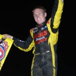 Brad Sweet waves to the crowd after winning Sunday night's Ohio Sprint Speedweek event at Waynesfield Raceway Park. - Jan Dunlap Photo