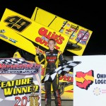 Brad Sweet in victory lane after winning the Ohio Sprint Speedweek feature at Waynesfield Raceway Park. - Jan Dunlap Photo