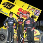 (l to r) Second place Kyle Larson, winner Brad Sweet, and third place Shane Stewart. - Jan Dunlap Photo