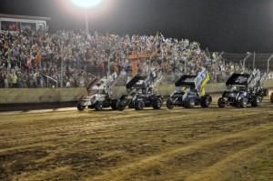 The parade lap before the World of Outlaws STP Sprint Car Series feature event Wednesday night at Kokomo Speedway. - Jan Dunlap Photo