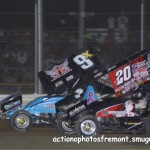 #20 Greg Wilson and #9x Rob Chaney race each other during all star racing action. - Action Photo