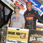 #16 Chris Andrews all star speedweek 410 sprint feature winner in victory lane with car owner Sonny Burmeister. - Action Photo