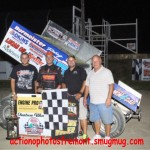 #16 Chris Andrews all star speedweek 410 sprint feature winner in victory lane with the nights sponsor, tpc food service. - Action Photo
