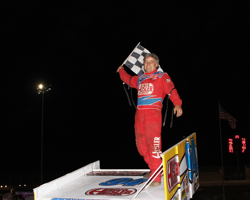 Jeff Swindell wing dances at the Willamette Speedway on Friday night after scoring his third Lucas Oil ASCS presented by MAVTV American Real victory of 2013. (ASCS / Bryan Hulbert)