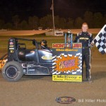 Isaac Chapple in Victory Lane after winning the midget event at the Montpelier Motor Speedway on Saturday night. - Bill Miller Photo