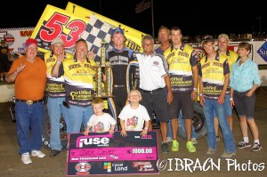 Jack Dover is joined by the Home Pride #53 team after winning the Nebraska 360 Sprint Series feature at I-80 Speedway on Thursday night. - Brad Brown / IBRACN.com photo