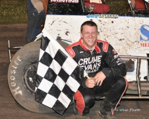Scotty Weir in victory lane after winning Friday night's feature at Gas City I-69 Speedway. - Bill Weir Photo